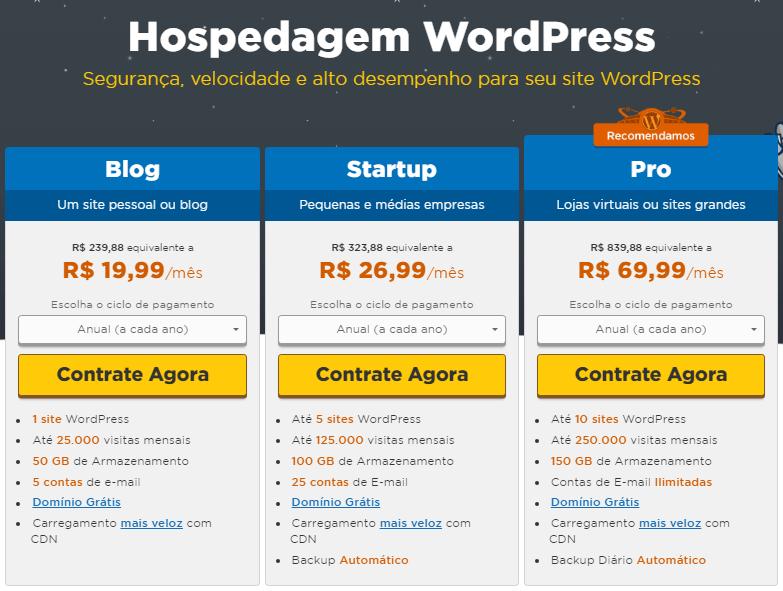 hospedagem wordpress para sites e blogs e lojas virtuais