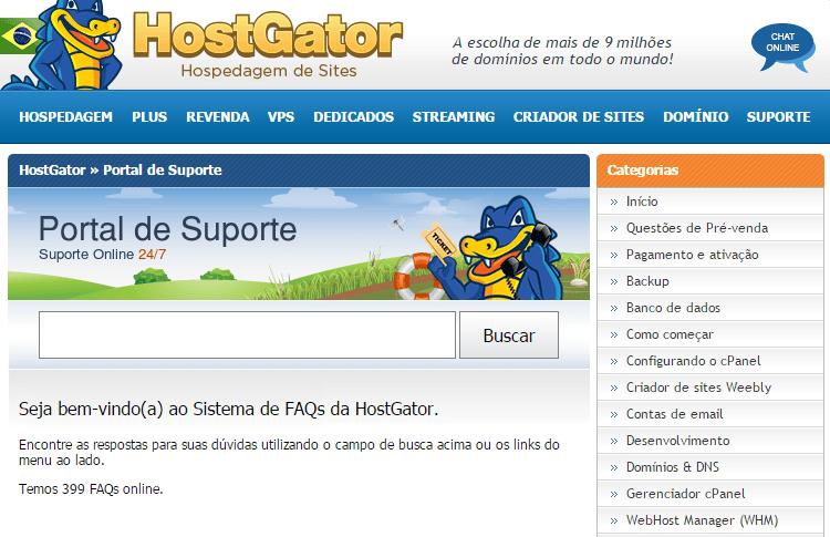 suporte cpanel hostgator brasil