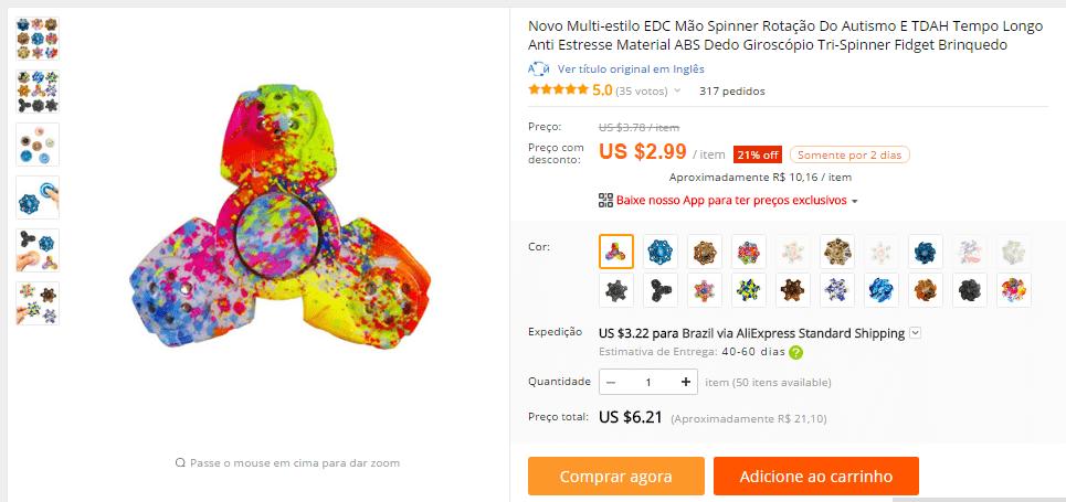 fidget spinner aliexpress brasil